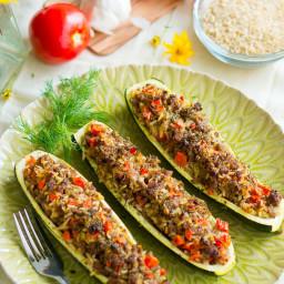 Stuffed Zucchini Boats with Garlic Sauce