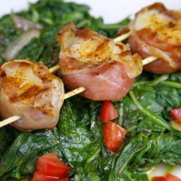 Suckin' Prosciutto-Wrapped Scallops With Spinach