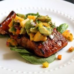 Sugar-Crusted Salmon with Avocado Peach Salsa