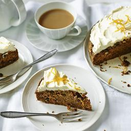 Sugar-free spiced carrot cake with orange cream cheese frosting