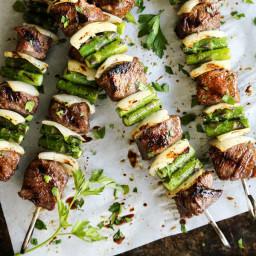 Sugar Grilled Beef and Asparagus Kebabs