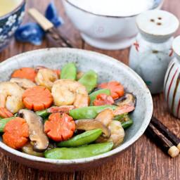 Sugar Snap Peas and Shrimps Stir Fry