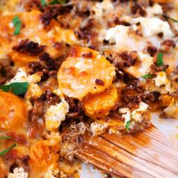 Süßkartoffel-Hackfleisch-Auflauf mit Feta