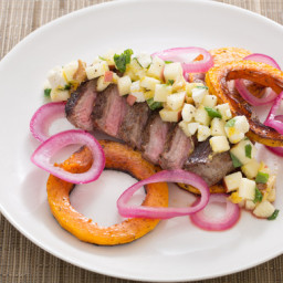 Sumac-Spiced Steak and Honeynut Squashwith Pickled Onion and Apple-Walnut S