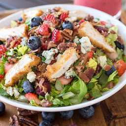 Summer Berry & Crispy Chicken Chopped Salad with Candied Pecans, Crisp Baco