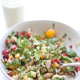 Summer Chopped Salad with Light Champagne Basil Vinaigrette