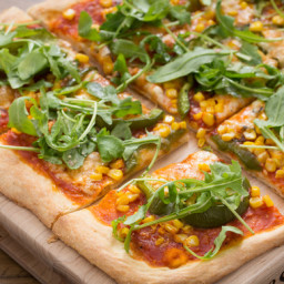 Summer Corn and Bell Pepper Pizzawith Taleggio Cheese and Fresh Thyme
