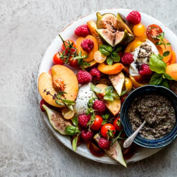 Summer Fruit Caprese Salad with Black Olive Pesto