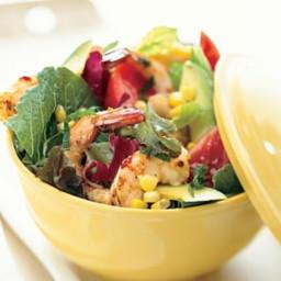 Summer Garden Salad with Chili-Garlic Shrimp