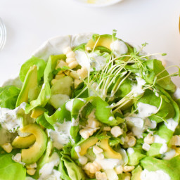 Summer Greens, Avocado, and Corn Salad with Yogurt Herb Dressing