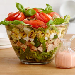 Summer Layered Salad with Grilled Chicken and Tomato Vinaigrette