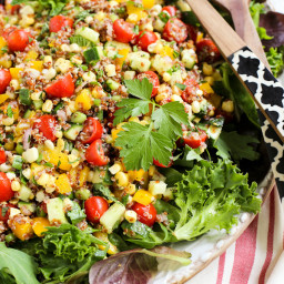 Summer Quinoa and Veggies Salad with Honey-Shallot Vinaigrette