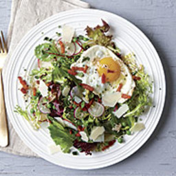 Summer Salad with Peas, Parmesan, Fried Egg, and Bacon
