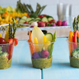 Summer Side Dish: Vegetables with Artichoke Avocado Pesto Dip