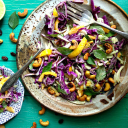 Summer Slaw with Tahini Lime Coconut Dressing and Curried Cashews