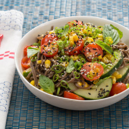 Summer Soba Saladwith Corn and Soy-Mirin Dressing