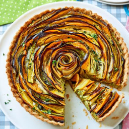 Summer vegetable and pesto rose tart