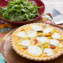 Summer Vegetable Quichewith Ricotta, Cherry Tomatoes and Arugula Salad