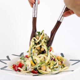Summer Zucchini Pasta Salad with Greek Yogurt-Herb Dressing