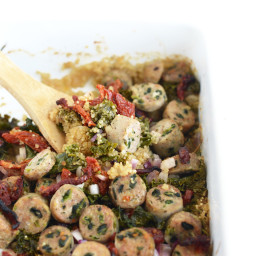 Sun Dried Tomato, Kale, and Chicken Sausage Quinoa Bake