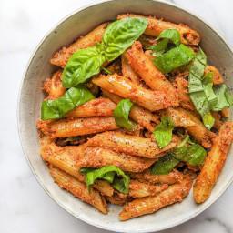 Sun Dried Tomato Protein Pesto Pasta (Gluten Free, Dairy Free, Vegan)