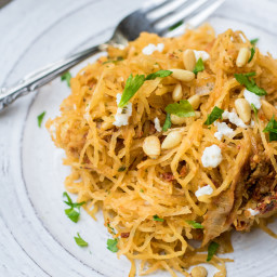 Sun-dried tomato spaghetti squash with caramelized onions