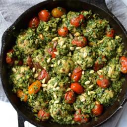 Sundried Tomato & Basil Chicken Meatballs in a Chunky Pesto Sauce