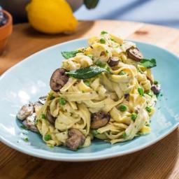 Sunny's Easy Mushroom, Peas and Pasta with 1-2-3 Alfredo Sauce