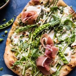 Super Green Pea and Asparagus Burrata Pizza