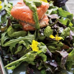 Super-Green Salmon Pesto Salad with Baby Kale, Arugula, and Peas