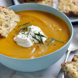 Super quick pumpkin soup with floating cheese toastie