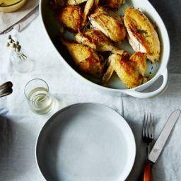 Super-Quick Roast Chicken with Garlic and White Wine Gravy