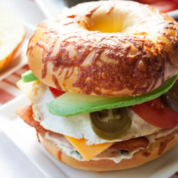 Supreme Breakfast Bagel Sandwich with Spicy Cream Cheese