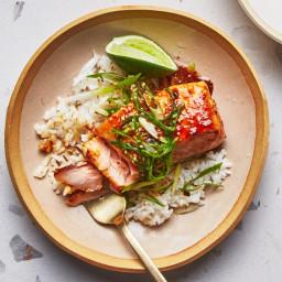 Sushi Rice with Miso-Caramel Glazed Salmon