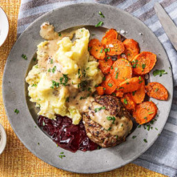 Swedish Meatloaves with Mashed Potatoes, Roasted Carrots, and Currant Jam