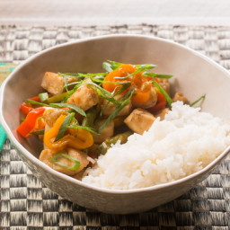 Sweet Chili Chickenwith Tinkerbell Peppers, Green Beans and Coconut Rice