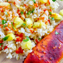 Sweet Chili Salmon Glazed with Pineapple Rice