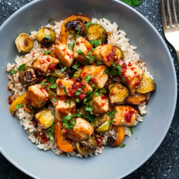 Sweet Chilli Halloumi Brussels Sprout Bowls
