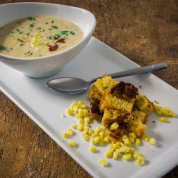Sweet Corn Chowder with Cornbread Croutons