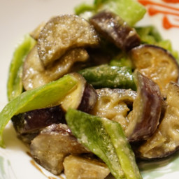 Sweet Miso-Braised Eggplant and Green Pepper