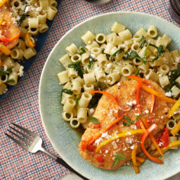 Sweet Pepper Chickenwith Ditali Pasta and Spinach