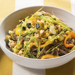 Sweet Pepper, Zucchini and Corn Stir-Frywith Soba Noodles and Ginger Cashew