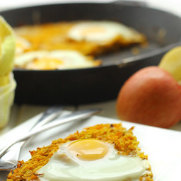 Sweet Potato and Apple Hashbrown Cake with Baked Eggs