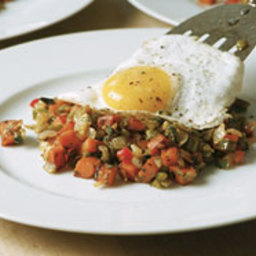 Sweet Potato and Chile Hash with a Fried Egg