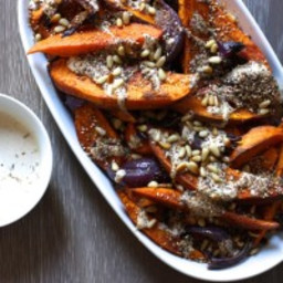 Sweet Potato and Red Onion with Tahini and Za' atar by Yotam Ottolenghi fro