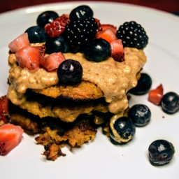 Sweet Potato Banana Pancakes with Nut Butter