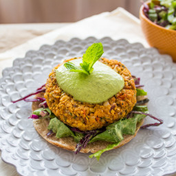 Sweet Potato Burgers with Green Tahini