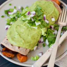 Sweet Potato Burrito Smothered in Avocado Salsa Verde
