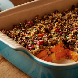 Sweet Potato Casserole with Herbed Mushroom Stuffing