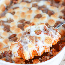 Sweet Potato Casserole with Marshmallow and Pecan Streusel